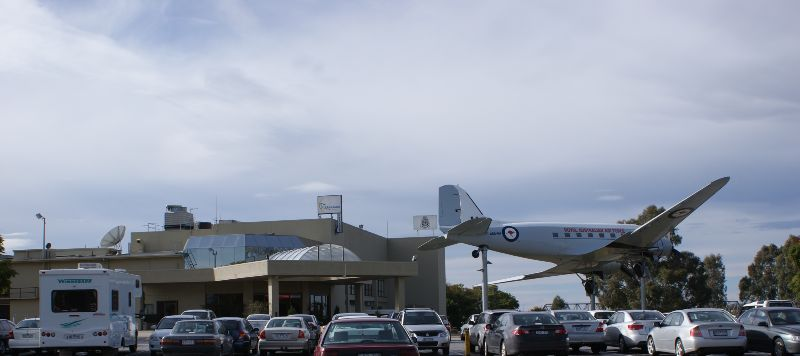 View of the entrance of Club Mulwala. On pedestal A65-64 from the Royal Australian Air Force